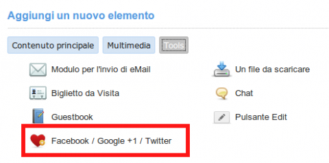I pulsanti social su AlterPages, per condividere i tuoi contenuti su Facebook, Google + e Twitter