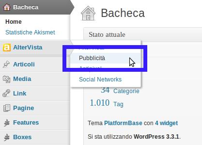 Impostazioni banner articolo WordPress Altervista