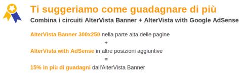 Bonus per la combinazione dei circuiti AlterVista Banner + AlterVista with Google AdSense