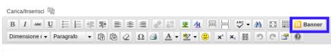 Pulsante per inserimento banner nell'editor di scrittura