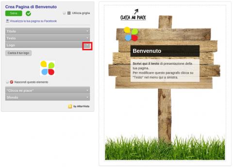Interfaccia editor per creare pagina di Benvenuto Facebook su AlterVista