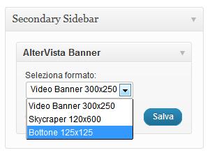Seleziona dal menu a tendina il formato del banner