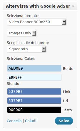 Seleziona le caratteristiche del banner AlterVista with Google AdSense