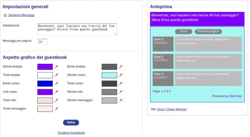 Personalizza i colori del guestbook