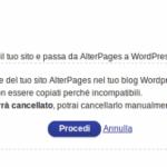 Torna sulla pagina di Gestione AlterPages e clicca su Procedi
