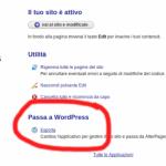Clicca su Passa a WordPress