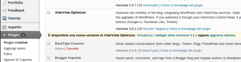 Aggiorna il plugin AlterVista Optimizer per contrastare lo spam