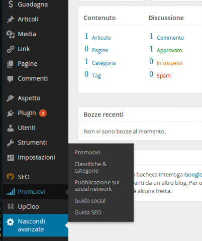 wordpress blog promuovi social e seo