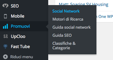 Dal menu seleziona Promuovi - Social Network