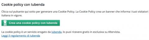 Clicca su Genera policy con Iubenda