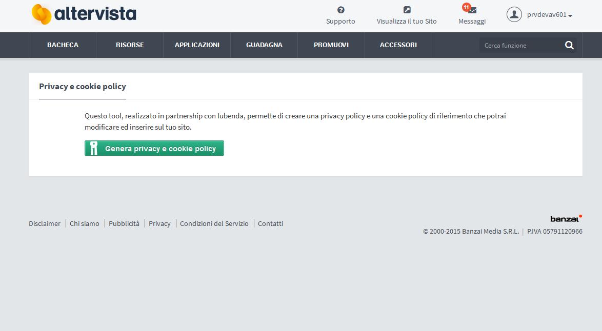 6a7a51916eb7 Pubblica gratis la Cookie Policy sul tuo sito | Altervista Blog