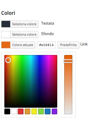 seleziona i colori del tuo blog mobile
