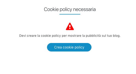 Clicca su Crea cookie policy