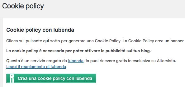 Clicca su Crea una cookie policy con Iubenda