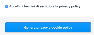 Clicca su su Genera privacy e cookie policy