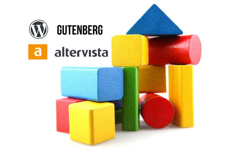 Con la nuova versione di WordPress, c'è il nuovo editor a blocchi, Gutenberg. La nuova versione con l'editor a blocchi è disponibile su Altervista. Nell'immagine una costruzione con blocchi.